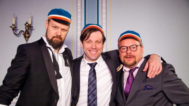 NAASEVAD KINOLINALE: Genka (vasakult), Mait Malmsteni ja Ago Andersoni kehastatud kolm sõpra seiklevad kinoekraanidel edasi.