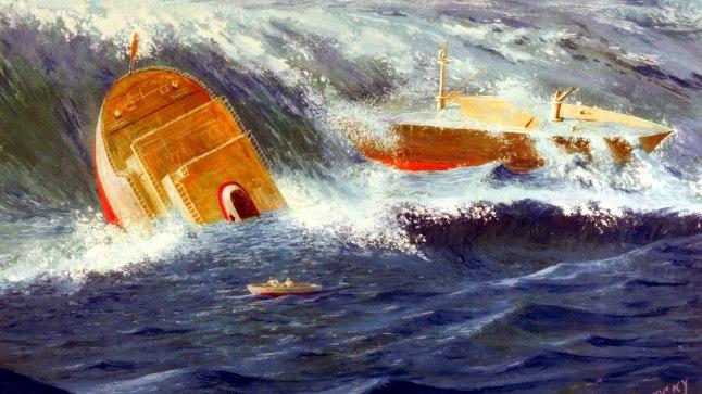 LAEVAHUKK: Laevahukk Bermuda kolmnurgas kunstniku nägemuses.