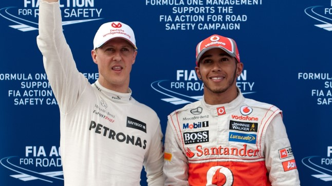 Lewis Hamilton (paremal) ja Michael Schumacher 2012. aastal.