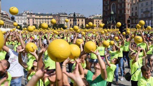 Guinnessi rekordi püstitamine Krakowis.
