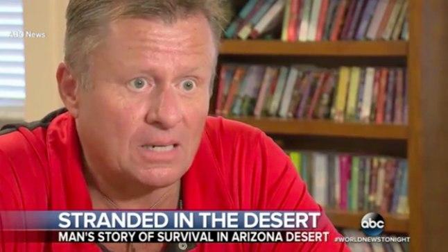 ÕNNESÄRGIS SÜNDINUD: kõrbesse lõksu jäänud Mick Ohman jäi ellu, kuna tal olid õnneks kaasas võileb ja paar purki õlut.