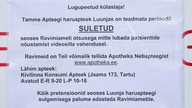 APTEEGID KINNI: Maapiirkondades on suletud juba mitu apteeki, kuna kohapeale pole proviisorit kuskilt võtta. Foto: Aldo Luud