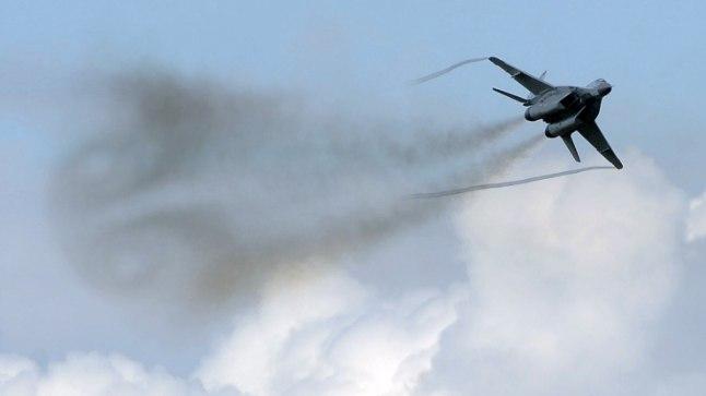 NATO liikmesriigi Slovakkia hävituslennuk Mikoyan MiG-29. Slovakkia on sõjalise võimekuse pingereas 74. kohal.
