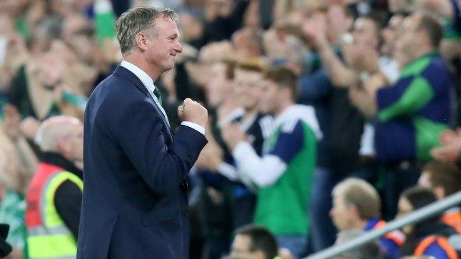 Põhja-Iirimaa loots Michael O'Neill võidu üle rõõmustamas.