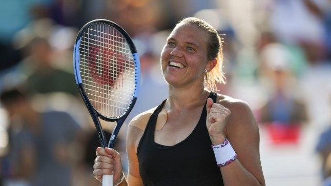 Kaia Kanepi imelistel Ameerika lahtistel tennisemeistrivõistlustel.