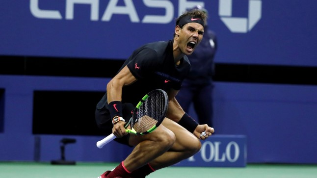 Rafael Nadal tähistamas võitu Juan Martin del Potro üle.