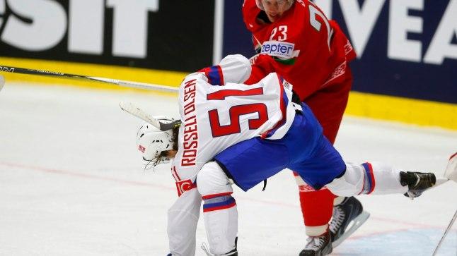 Andrei Stas (punases) Mats Rosseli Olsenit lükkamas.