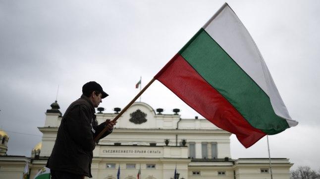 PARLAMENDI EES: Bulgaaria lippu hoidev meeleavaldaja Sofias parlamendihoone ees.