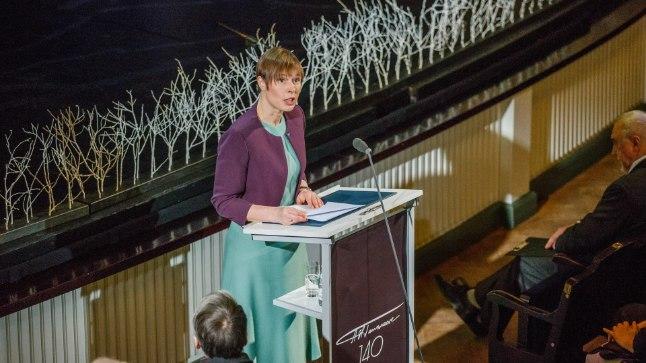 President Kersti Kaljulaid teisipäeva õhtul Estonia teatris A. H. Tammsaare 140. sünniaastapäeva aktusel.
