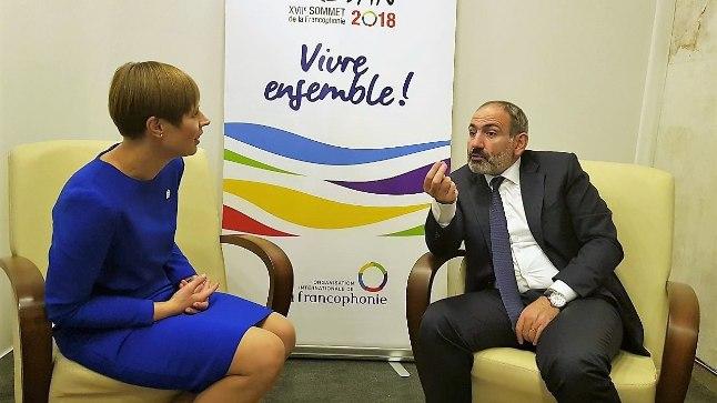 Kersti Kaljulaid kohtus Armeenia peaministri Nikol Pašinjaniga