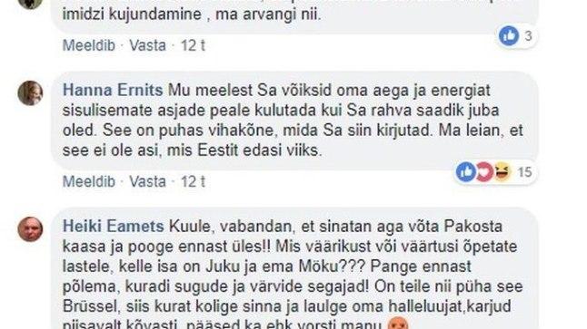 POOGE END ÜLES! Peeter Ernitsa postituse alla ilmus kommentaar, milles anti poliitiku tütrele Hanna Ernitsale ning võrdõigusvolinikule Liisa Pakostale käsk end üles puua.