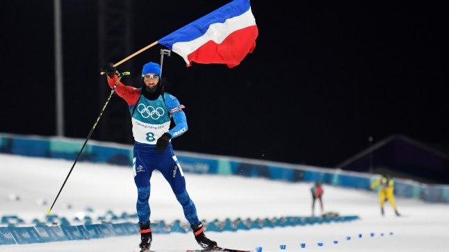 Martin Fourcade olümpiavõitjana finišeerimas