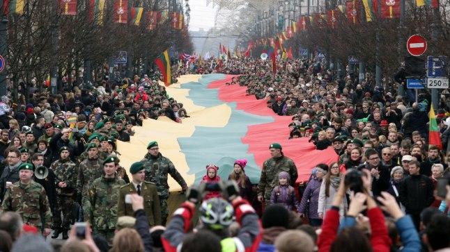 UHKE RAHVAS: pidurüüs Vilnius taasiseseisvuspäeval 11. märtsil.