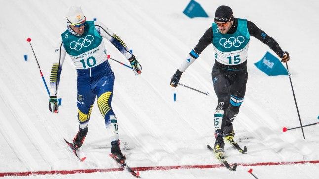FOTOFINIŠ: Marko Kilp (paremal) vandus lõpusirgel Calle Halfvarssonile alla, kuid rootslanegi jäi poolfinaalist välja.