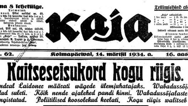Riigivanem Konstantin Pätsi ettepanekul kuulutati välja üleriigiline kaitseseisukord