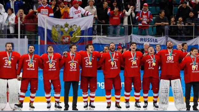 Võidukas Venemaa hokimeeskond.