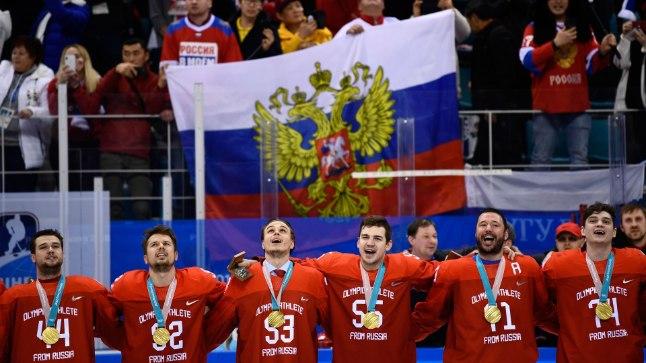 """Kuigi tribüünidel lehvisid Venemaa lipud, kandsid sportlased Pyeongchangis """"neutraalset"""" vormi."""