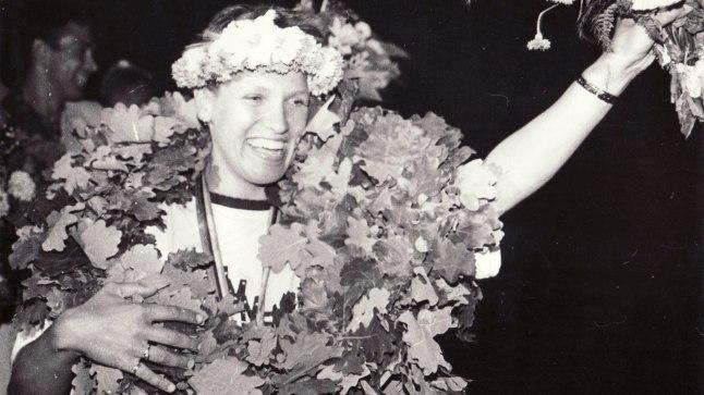 Erika Salumäe vastuvõtt Raekoja platsil pärast Barcelona olümpiamänge