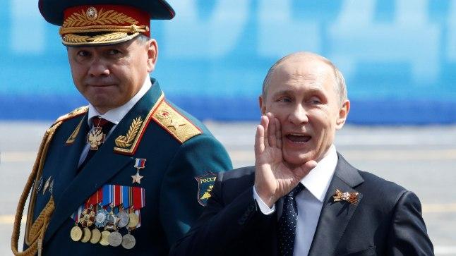 Vene president Putin ja sõjaväe juhataja armeekindral Šoigu 9. mai tähistamisel Moskvas.