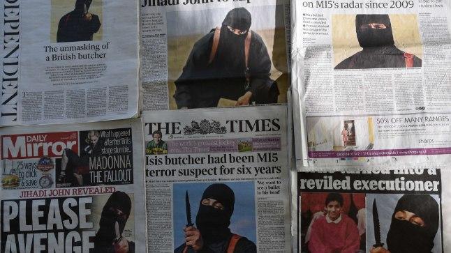 Ajalehtede esikaaned lugudega Suurbritannia terroristidest.