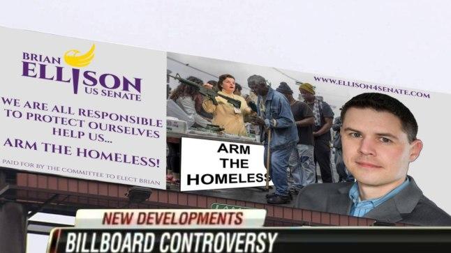 """Relvastame kodutud"": Brian Ellisoni reklaamplakat"