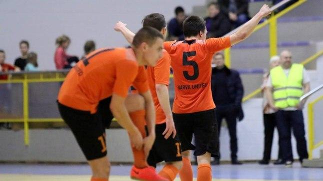 Narva Unitedi mängijad otsustavas poolfinaalis Augur Enemati vastu.