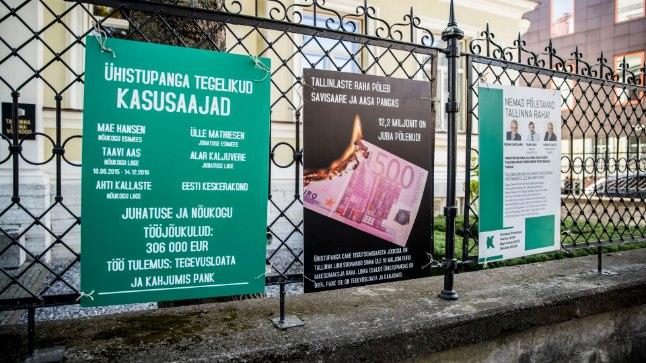 Reformierakonna fraktsiooni protestiaktioon Tallinna volikogu ees, eesmärgiga juhtida tähelepanu Tallinna linna raha ebamõistlikule kulutamisele Ühistupangas.