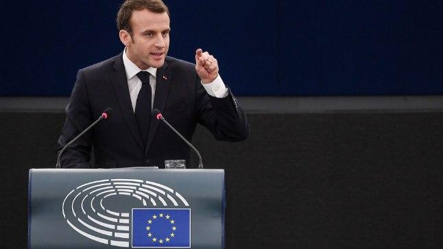 Emmanuel Macron 17. aprillil europarlamendi ees.