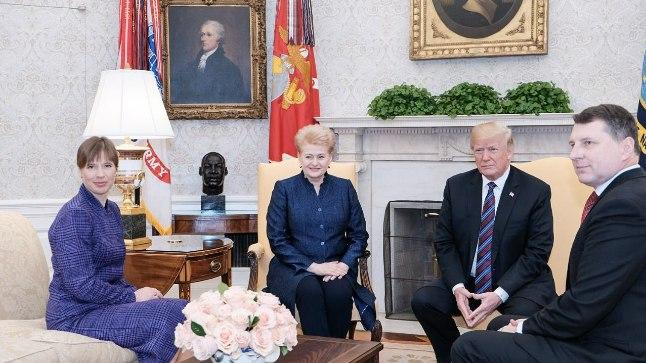 USA president Donald Trump kohtumas Eesti presidendi Kersti Kaljulaidi, Leedu presidendi Dalia Grybauskaitė ja Läti presidendi Raimonds Vējonisega.