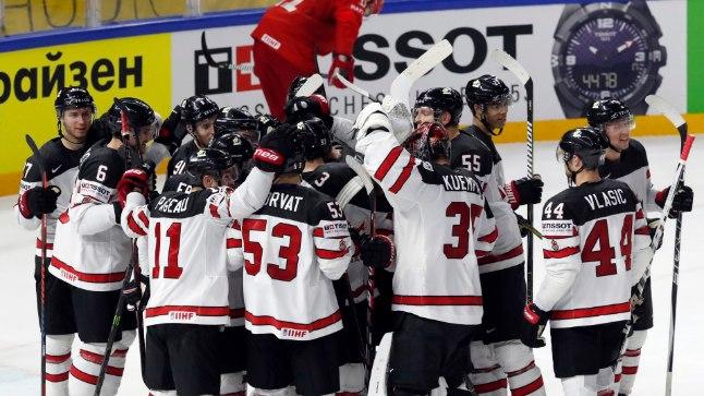Kanada meeskonna võidurõõm.