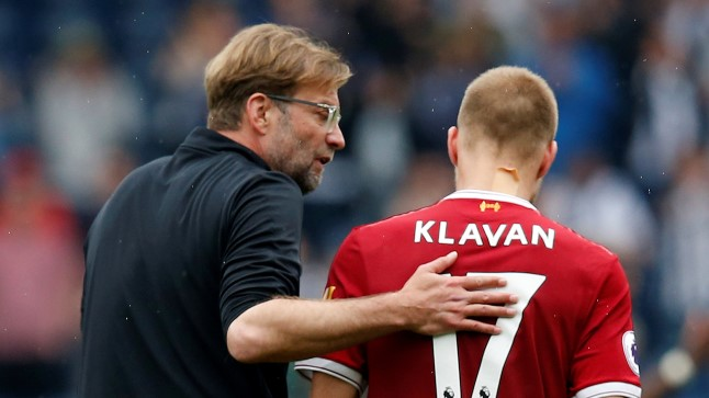 Ragnar Klavan ja Liverpooli peatreener Jürgen Klopp.