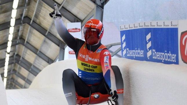 Meeste kelgutamise ikoon Felix Loch 2018. aastal alguses Siguldas peetud MK-etapil.