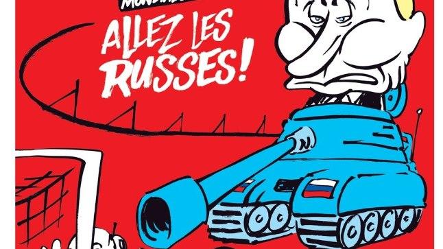 """KURI PUTIN TANKIL: Prantsuse satiirileht Charlie Hebdo avaldas värskes numbris Venemaal algava jalgpallimaailmameistrivõistluste finaalturniiri tähistamiseks karikatuuri, millel sihib Venemaa presidenti Vladimir Putin jalgpalliväravat tankikahuriga. Karikatuuri juures on tekst: """"Edasi, venelased!"""""""