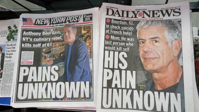 TEISTELE TUNDMATU VALU: New Yorgi ajalehed Anthony Bourdaini surma kajastamas.