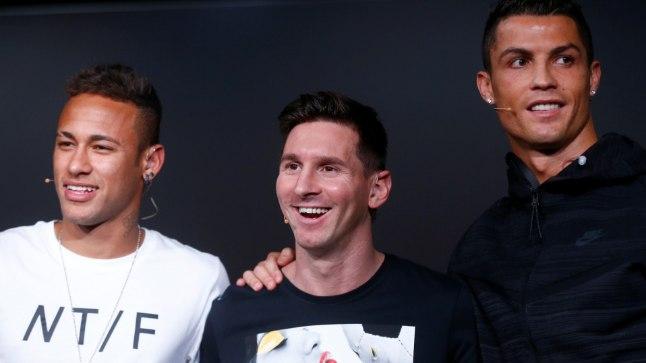 Neymar (vasakult), Lionel Messi ja Cristiano Ronaldo.