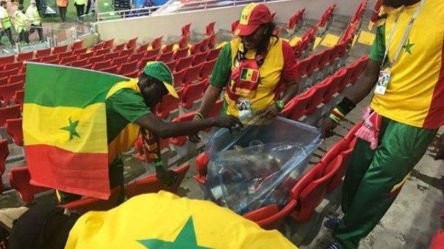 Senegali fännid koristamas.