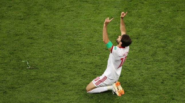Iraanlane Karim Ansarifard pärast realiseeritud penaltit.