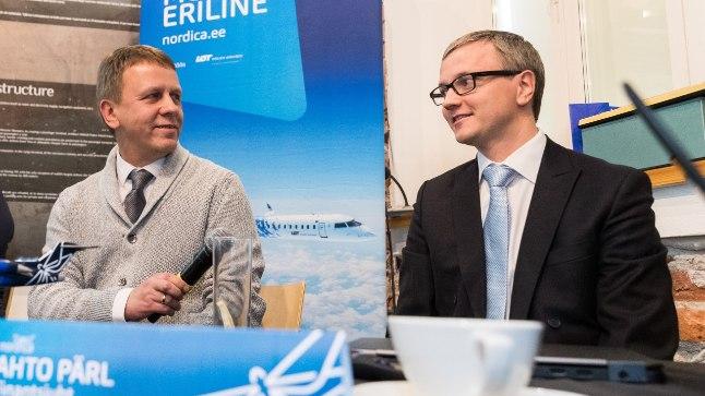 Nordica juhatuse esimees Jaan Tamm (keskel) ja finantsjuht Ahto Pärl (paremal). Neist vasakul kommertsjuht Kristel Penu.