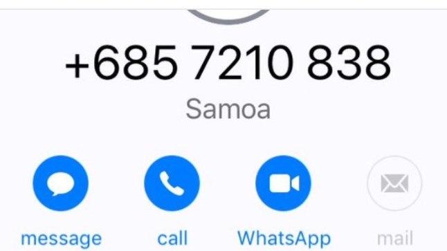 Vastamata kõne Samoast, mille suunakood on +685.