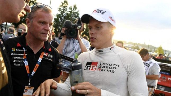 Ott Tänak ja Toyota tiimiboss Tommi Mäkinen.