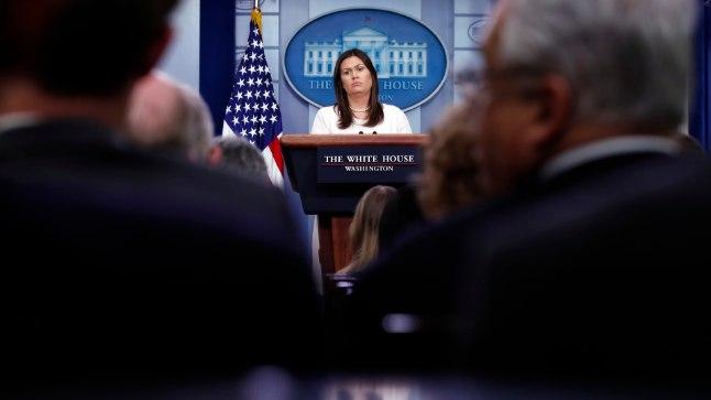 Sarah Huckabee Sanders esmaspäevasel pressikonverentsil