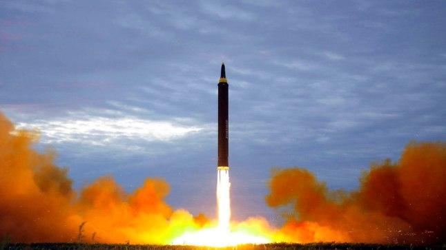 Põhja-Kora valitsuse avaldatud foto raketikatsetusest 2017. aasta 29. augustil.