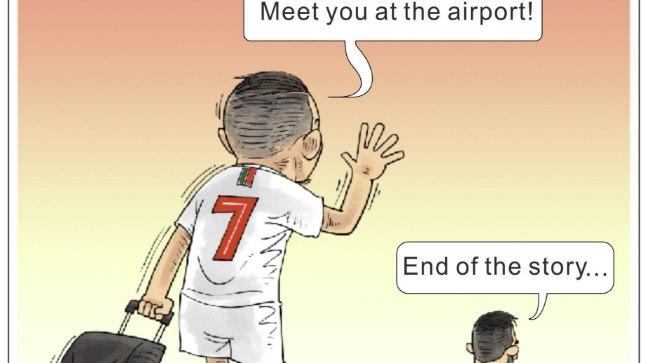 Karikatuur Messi ja Ronaldo kojuminekust.