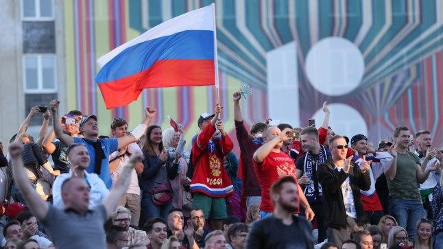 Venemaa ja Horvaatia veerandfinaali ühisvaatamine Tallinna Kesklinnas.