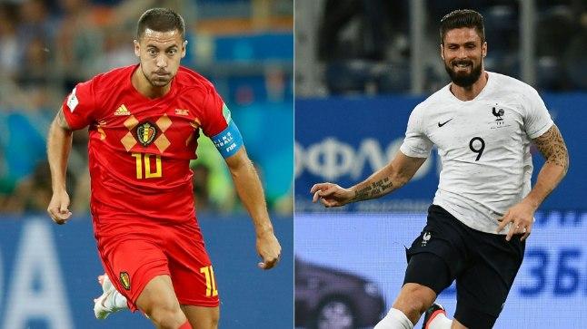 Teisipäevases poolfinaalis kohtuvad Eden Hazard (vasakul, Belgia) ja Olivier Giroud (paremal, Prantsusmaa.