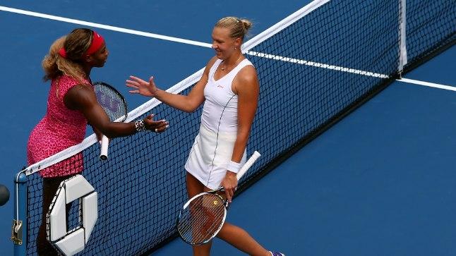 Serena Williams ja Kaia Kanepi 2014. aasta USA lahtistel.