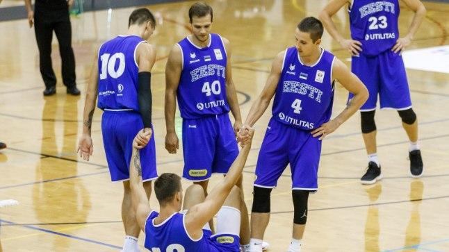 Eesti koondis Rakveres Belgia mängu ajal.