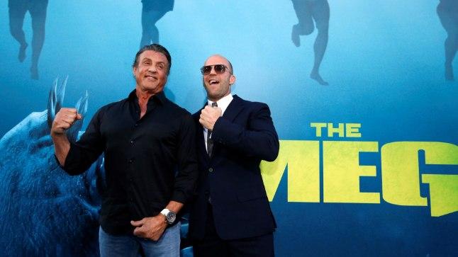 "Sylvester Stallone ja Jason Statham filmi ""Meg"" esilinastusel."