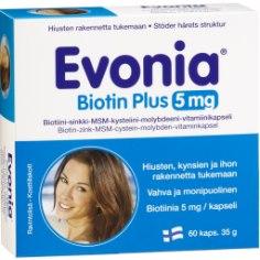 EVONIA® Biotin Plus 5 mg on kõrge biotiinisisaldusega kapsel, milles sisalduvad toitained annavad juustele läiget, küüntele tugevust ja lisavad nahale elastsust. Biotiin aitab hoida juukseid ja nahka elastse ja nooruslikuna. Biotiin lisab ka juustele läiget ning annab terve ja elujõulise välimuse.