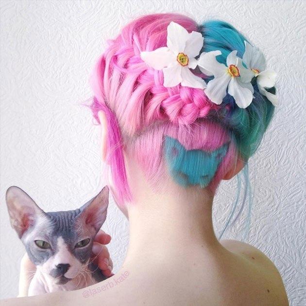 Картинки по запросу Бирюзовый кот, выбритый на затылке — яркая стрижка, взорвавшая Instagram